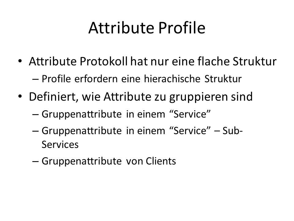 Attribute Protokoll hat nur eine flache Struktur – Profile erfordern eine hierachische Struktur Definiert, wie Attribute zu gruppieren sind – Gruppena