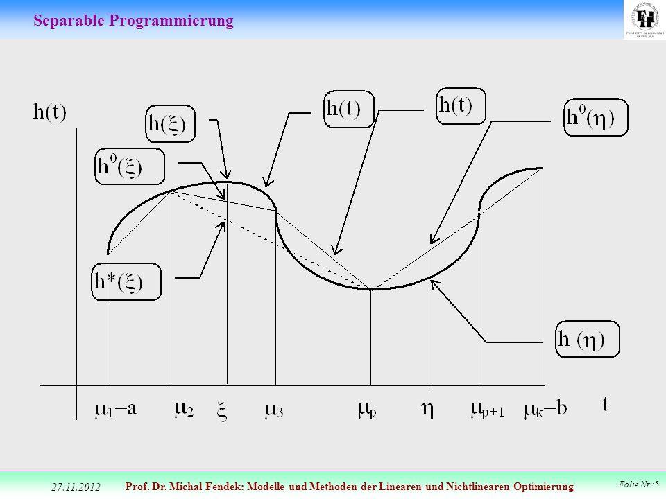 Prof. Dr. Michal Fendek: Modelle und Methoden der Linearen und Nichtlinearen Optimierung Folie Nr.:5 Separable Programmierung 27.11.2012