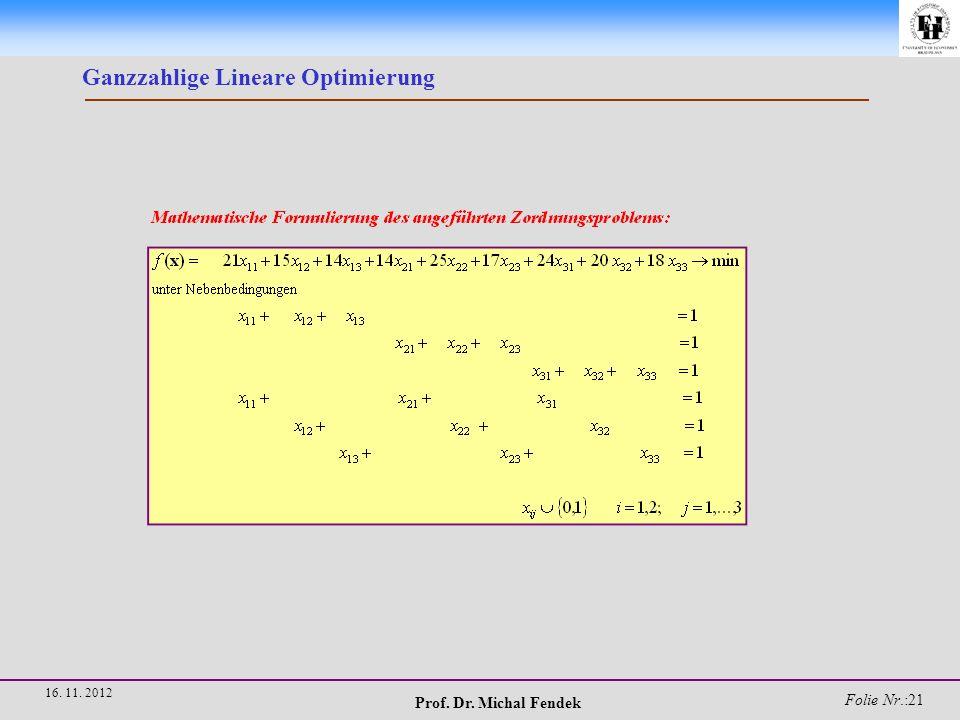 Prof. Dr. Michal Fendek Folie Nr.:22 16. 11. 2012 Ganzzahlige Lineare Optimierung