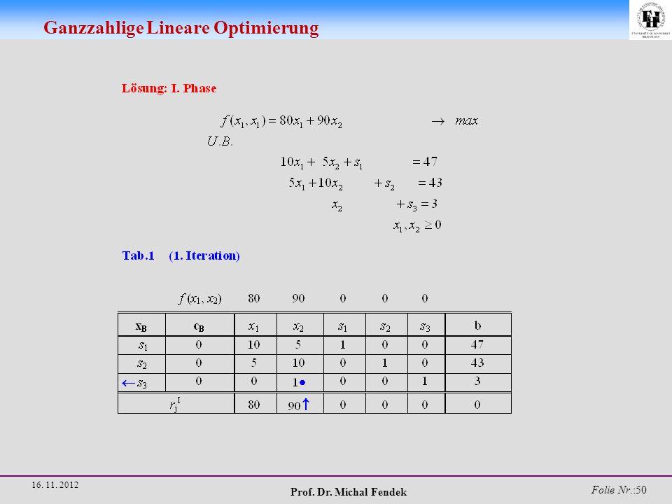 Prof. Dr. Michal Fendek Folie Nr.:51 16. 11. 2012 Ganzzahlige Lineare Optimierung