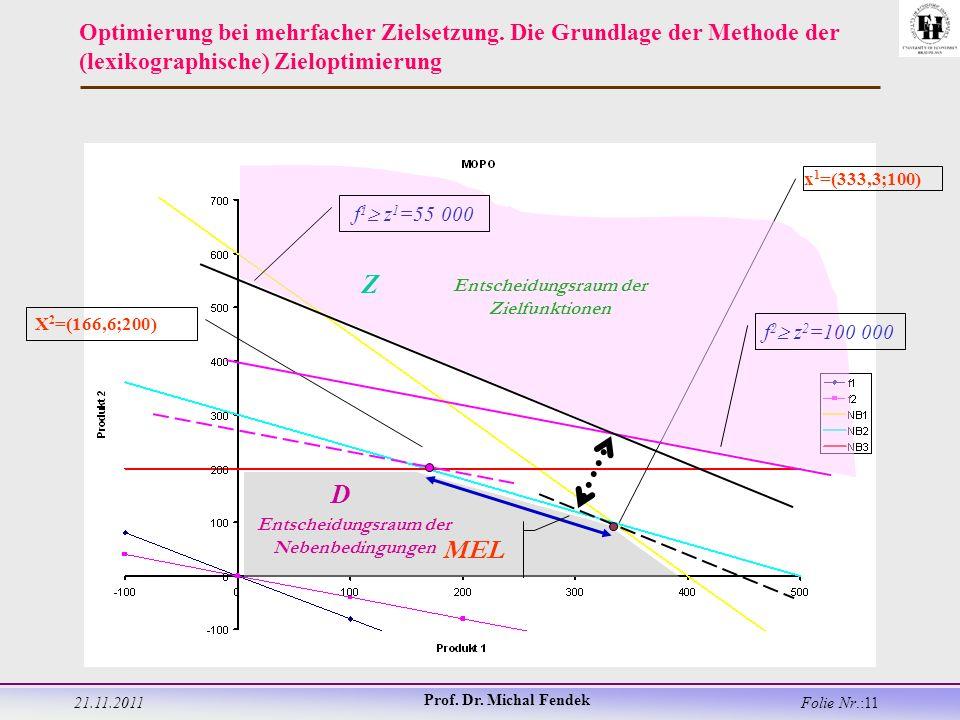 21.11.2011 Prof. Dr. Michal Fendek Folie Nr.:11 Optimierung bei mehrfacher Zielsetzung.
