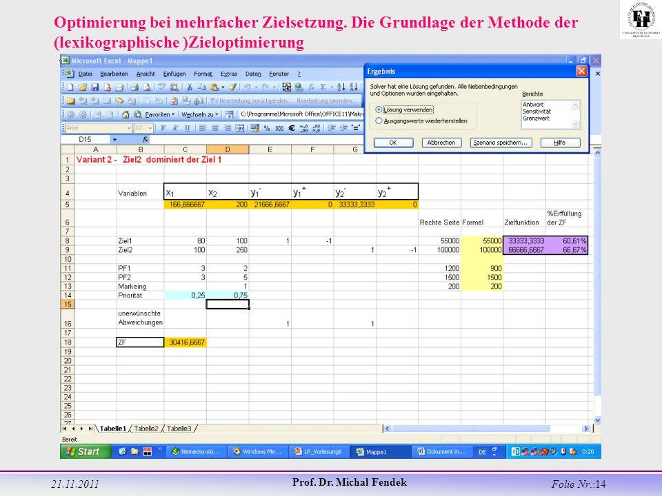21.11.2011 Prof. Dr. Michal Fendek Folie Nr.:14 Optimierung bei mehrfacher Zielsetzung.