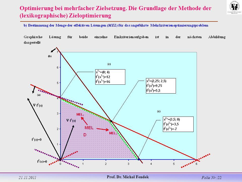 21.11.2011 Prof. Dr. Michal Fendek Folie Nr.:22 Optimierung bei mehrfacher Zielsetzung.