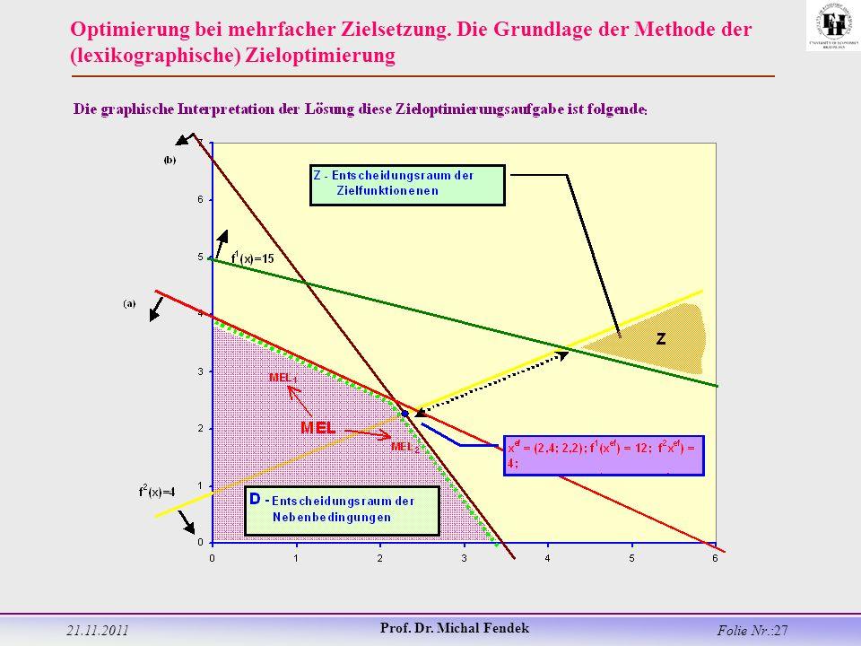 21.11.2011 Prof. Dr. Michal Fendek Folie Nr.:27 Optimierung bei mehrfacher Zielsetzung.