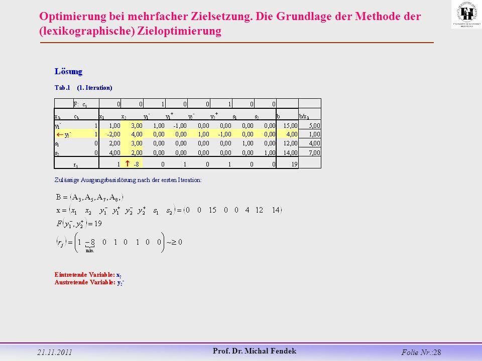 21.11.2011 Prof. Dr. Michal Fendek Folie Nr.:28 Optimierung bei mehrfacher Zielsetzung.