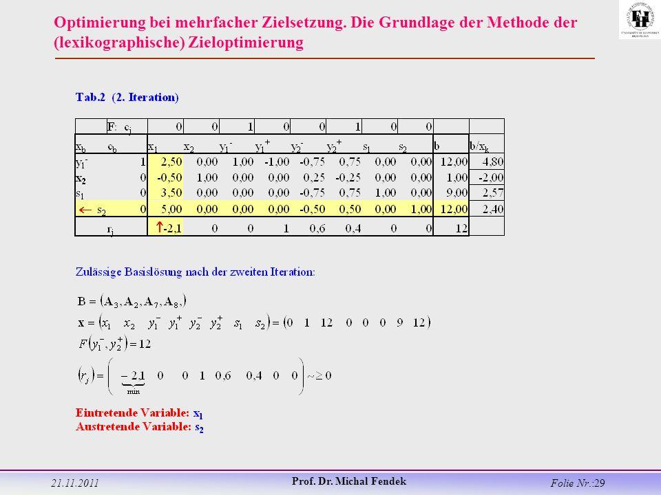 21.11.2011 Prof. Dr. Michal Fendek Folie Nr.:29 Optimierung bei mehrfacher Zielsetzung.