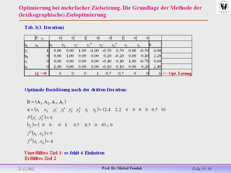21.11.2011 Prof. Dr. Michal Fendek Folie Nr.:30 Optimierung bei mehrfacher Zielsetzung.