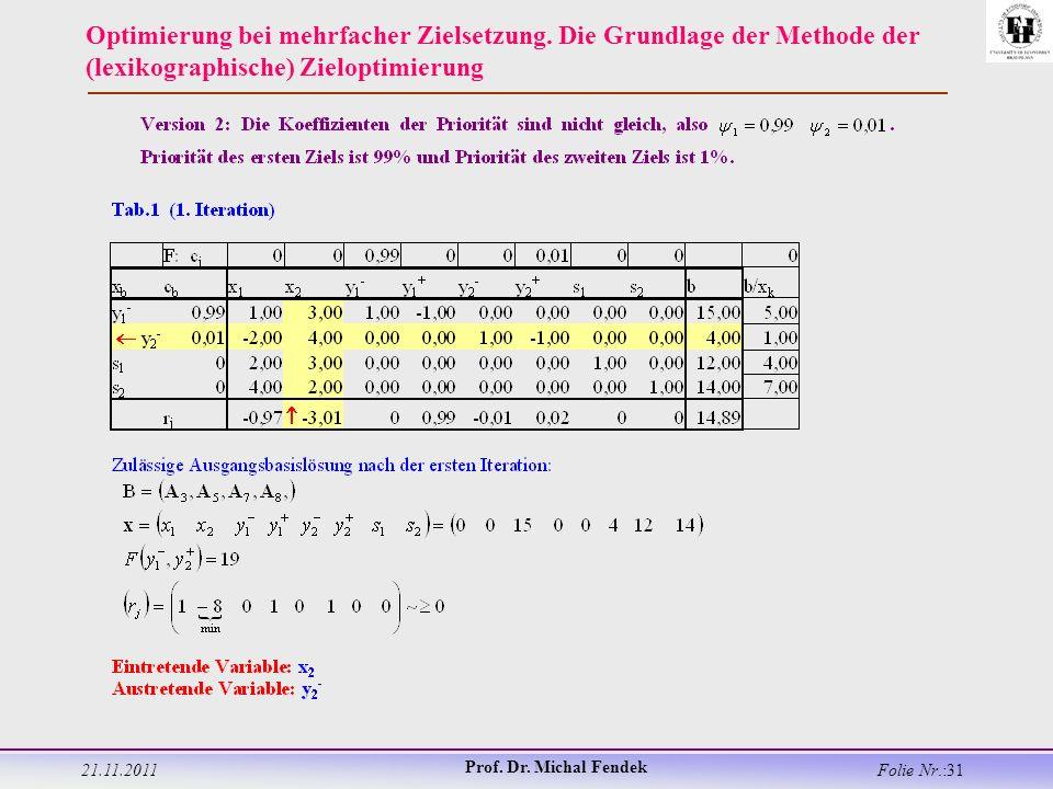 21.11.2011 Prof. Dr. Michal Fendek Folie Nr.:31 Optimierung bei mehrfacher Zielsetzung.