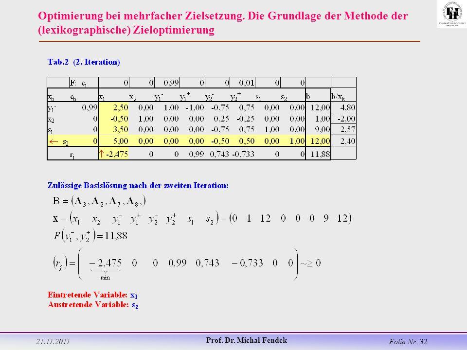 21.11.2011 Prof. Dr. Michal Fendek Folie Nr.:32 Optimierung bei mehrfacher Zielsetzung.