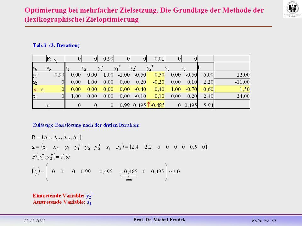 21.11.2011 Prof. Dr. Michal Fendek Folie Nr.:33 Optimierung bei mehrfacher Zielsetzung.