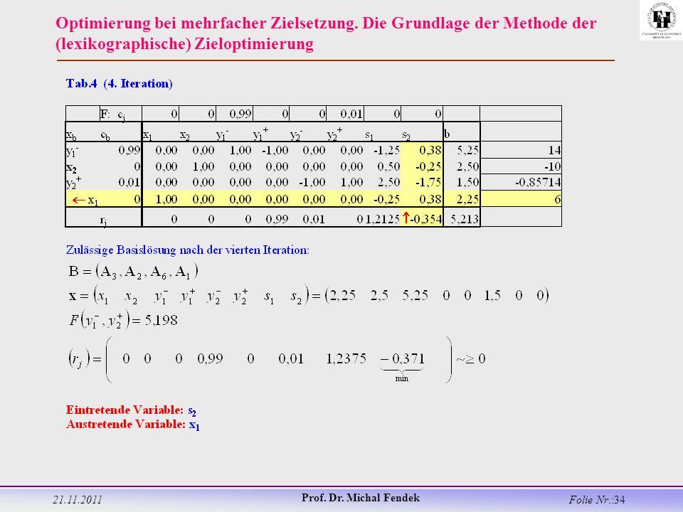 21.11.2011 Prof. Dr. Michal Fendek Folie Nr.:34 Optimierung bei mehrfacher Zielsetzung.