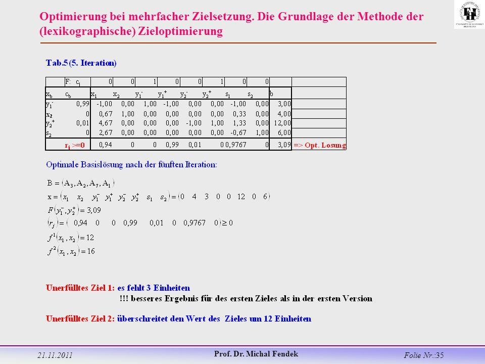 21.11.2011 Prof. Dr. Michal Fendek Folie Nr.:35 Optimierung bei mehrfacher Zielsetzung.