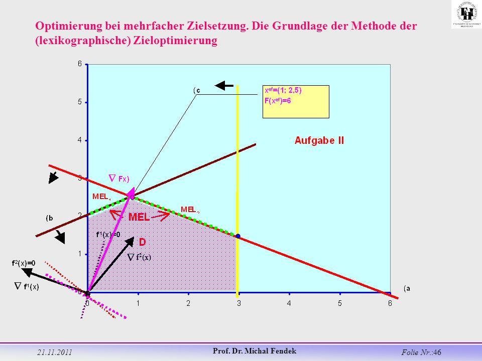 21.11.2011 Prof. Dr. Michal Fendek Folie Nr.:46 Optimierung bei mehrfacher Zielsetzung.