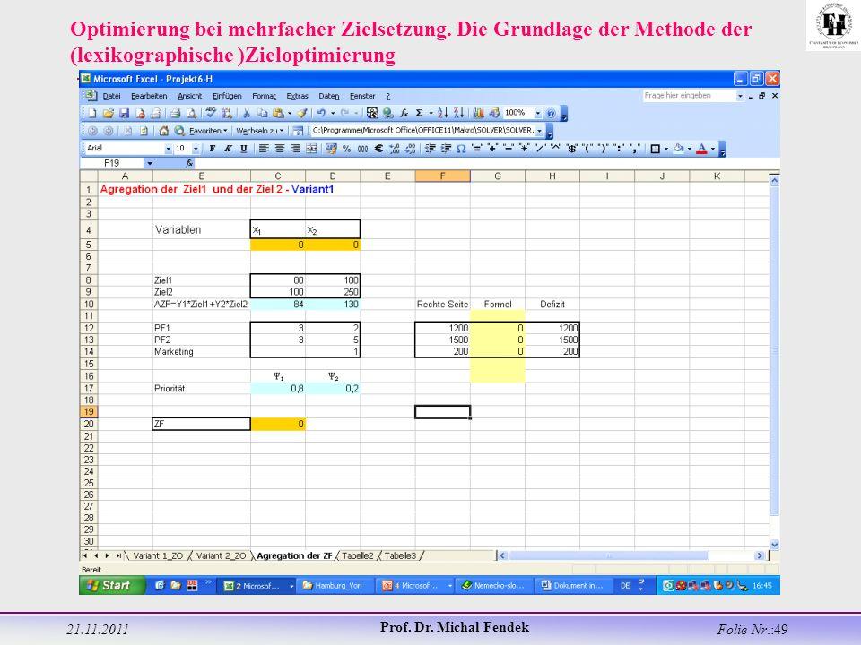 21.11.2011 Prof. Dr. Michal Fendek Folie Nr.:49 Optimierung bei mehrfacher Zielsetzung.