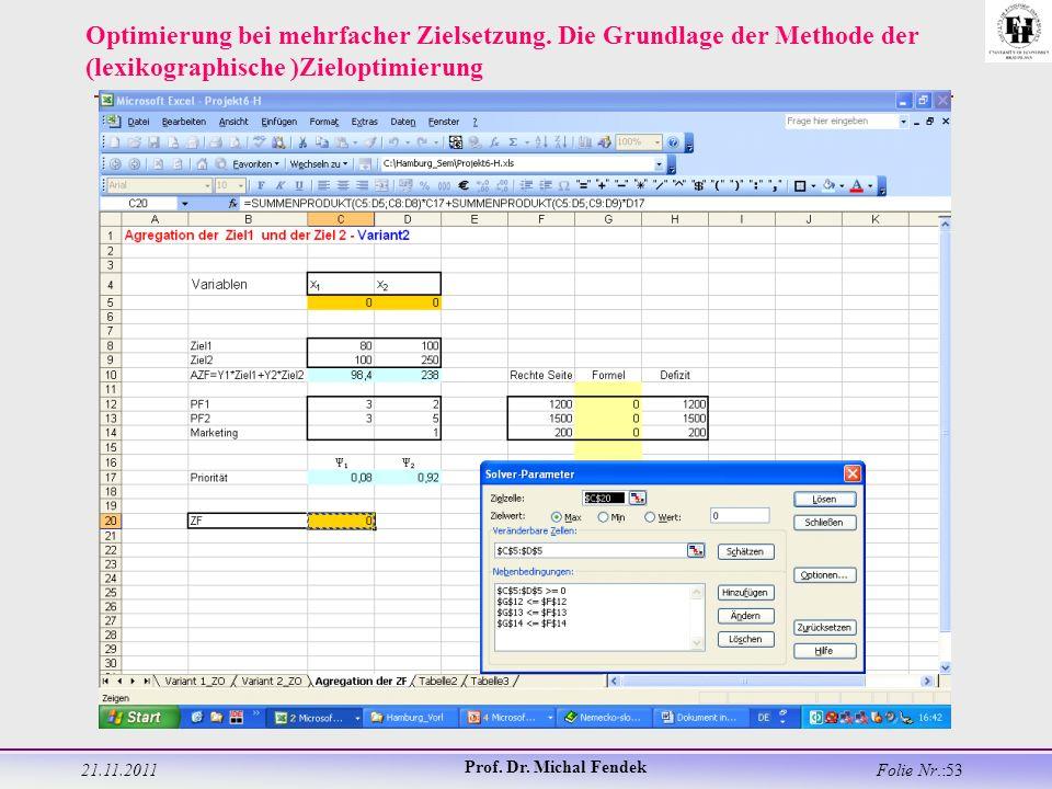 21.11.2011 Prof. Dr. Michal Fendek Folie Nr.:53 Optimierung bei mehrfacher Zielsetzung.