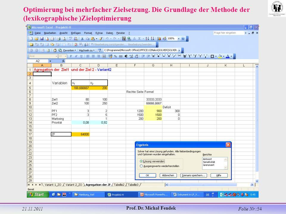 21.11.2011 Prof. Dr. Michal Fendek Folie Nr.:54 Optimierung bei mehrfacher Zielsetzung.