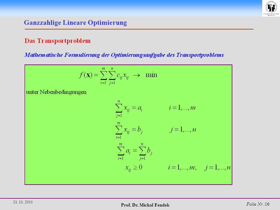 Prof. Dr. Michal Fendek Folie Nr.:16 21. 11. 2011 Ganzzahlige Lineare Optimierung