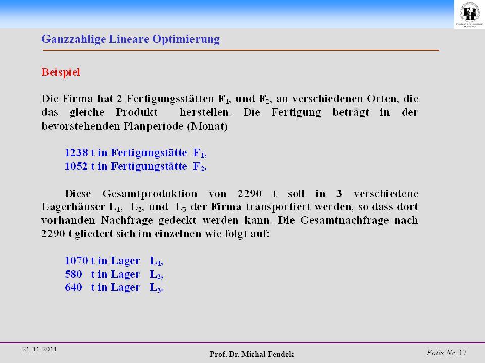 Prof. Dr. Michal Fendek Folie Nr.:17 21. 11. 2011 Ganzzahlige Lineare Optimierung