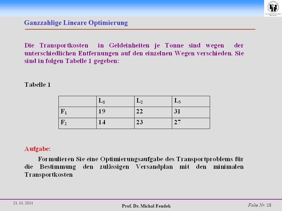 Prof. Dr. Michal Fendek Folie Nr.:18 21. 11. 2011 Ganzzahlige Lineare Optimierung