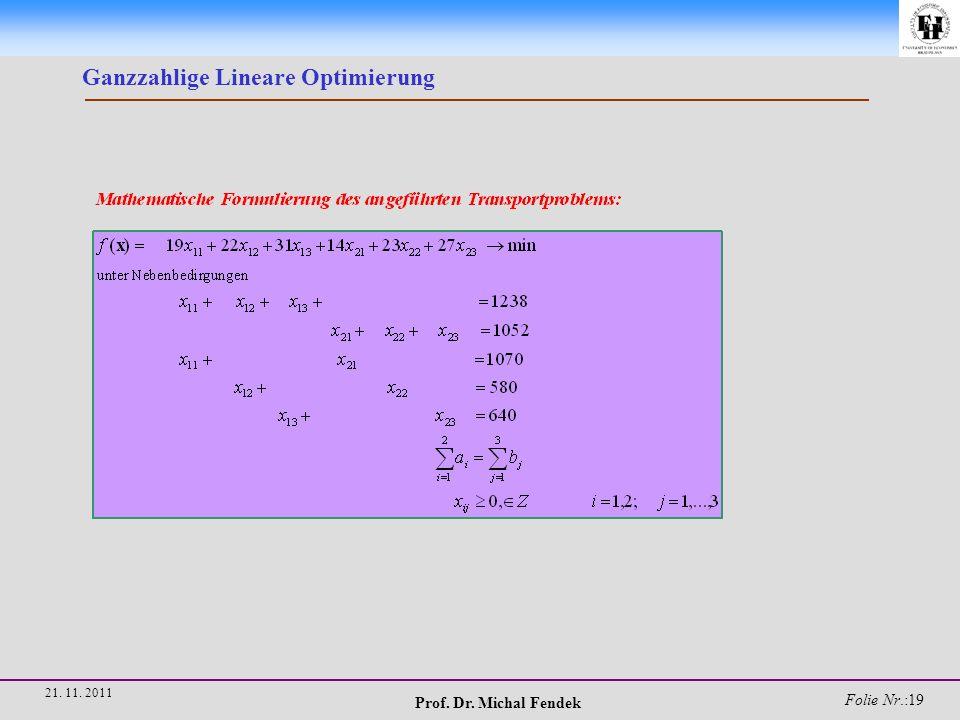 Prof. Dr. Michal Fendek Folie Nr.:19 21. 11. 2011 Ganzzahlige Lineare Optimierung