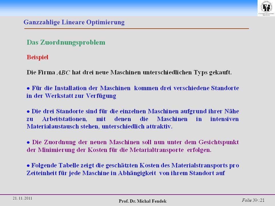Prof. Dr. Michal Fendek Folie Nr.:21 21. 11. 2011 Ganzzahlige Lineare Optimierung