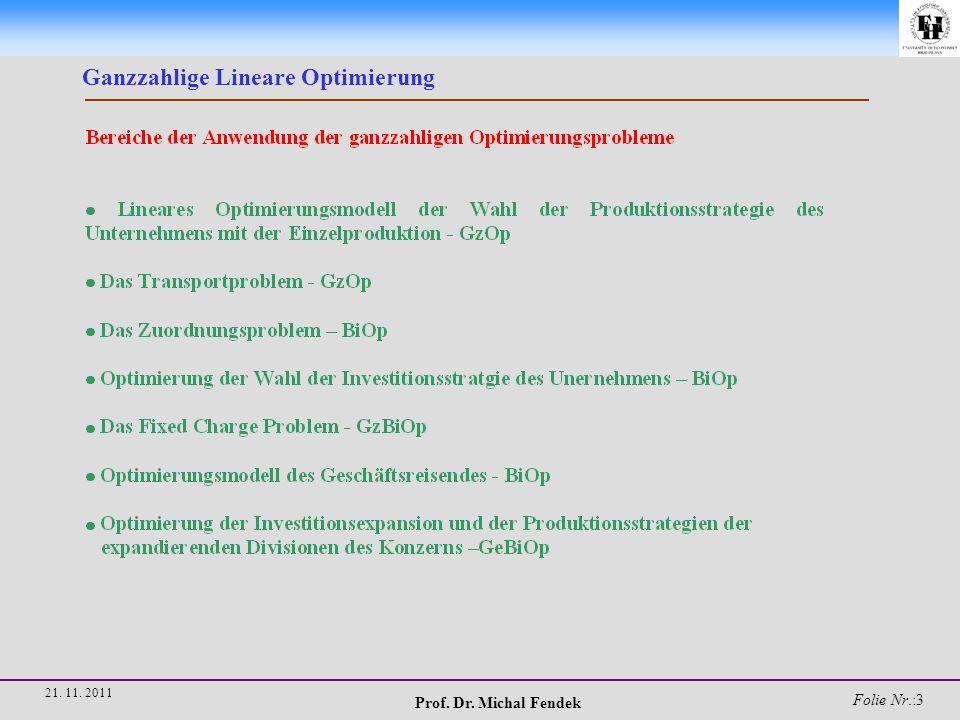 Prof. Dr. Michal Fendek Folie Nr.:54 21. 11. 2011 Ganzzahlige Lineare Optimierung