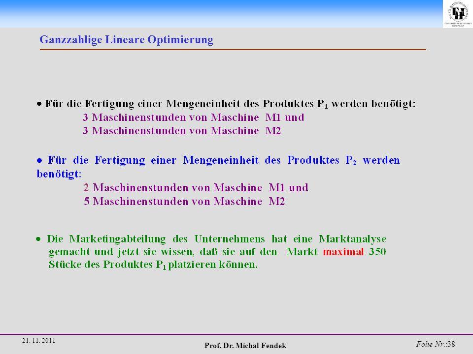 Prof. Dr. Michal Fendek Folie Nr.:38 21. 11. 2011 Ganzzahlige Lineare Optimierung