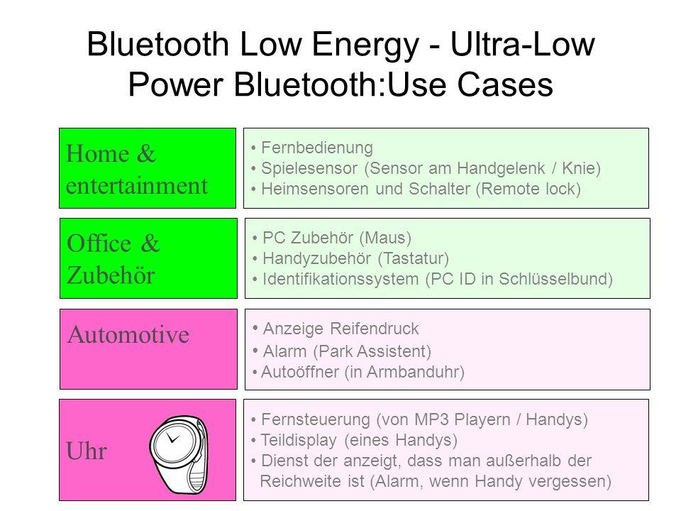 PC Zubehör (Maus) Handyzubehör (Tastatur) Identifikationssystem (PC ID in Schlüsselbund) Bluetooth Low Energy - Ultra-Low Power Bluetooth:Use Cases An