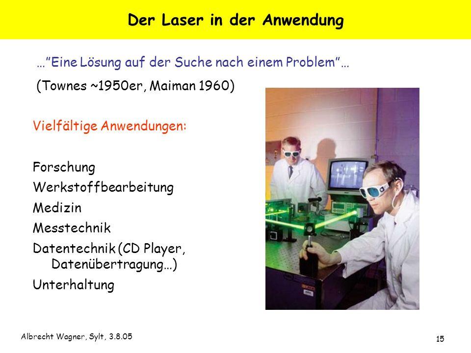 Albrecht Wagner, Sylt, 3.8.05 15 Der Laser in der Anwendung Vielfältige Anwendungen: Forschung Werkstoffbearbeitung Medizin Messtechnik Datentechnik (