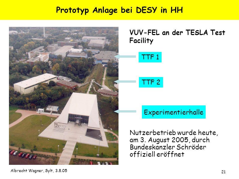 Albrecht Wagner, Sylt, 3.8.05 21 Prototyp Anlage bei DESY in HH Nutzerbetrieb wurde heute, am 3. August 2005, durch Bundeskanzler Schröder offiziell e
