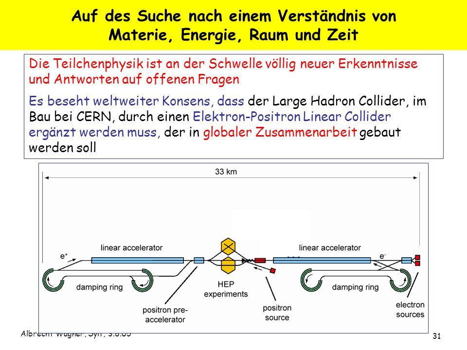 Albrecht Wagner, Sylt, 3.8.05 31 Die Teilchenphysik ist an der Schwelle völlig neuer Erkenntnisse und Antworten auf offenen Fragen Es beseht weltweite