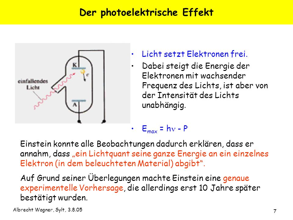 Albrecht Wagner, Sylt, 3.8.05 7 Der photoelektrische Effekt Licht setzt Elektronen frei. Dabei steigt die Energie der Elektronen mit wachsender Freque