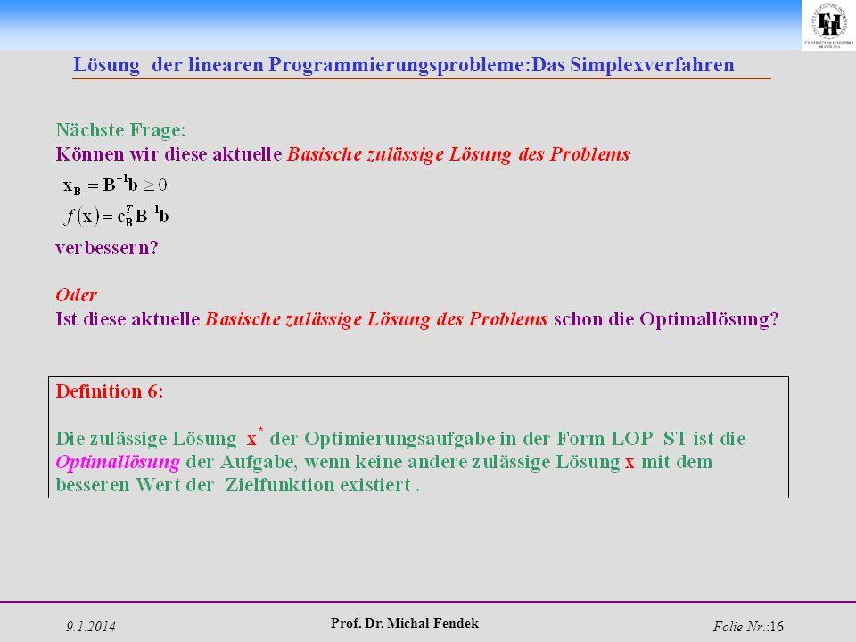 9.1.2014 Prof. Dr. Michal Fendek Folie Nr.:16 Lösung der linearen Programmierungsprobleme:Das Simplexverfahren
