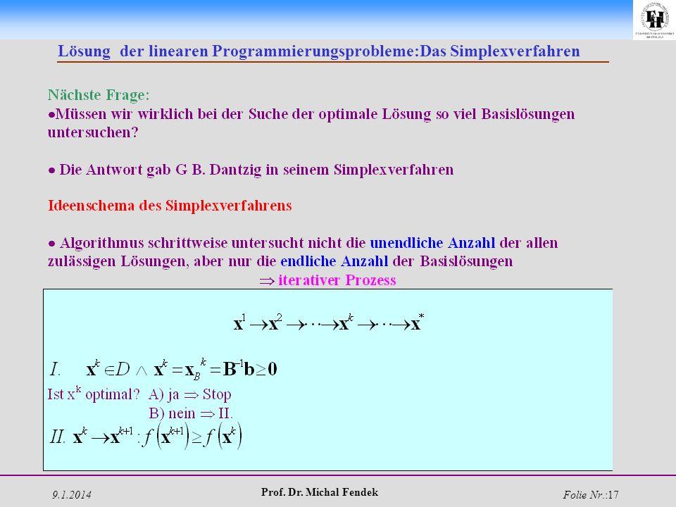 9.1.2014 Prof. Dr. Michal Fendek Folie Nr.:17 Lösung der linearen Programmierungsprobleme:Das Simplexverfahren