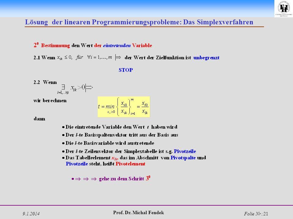 9.1.2014 Prof. Dr. Michal Fendek Folie Nr.:21 Lösung der linearen Programmierungsprobleme: Das Simplexverfahren