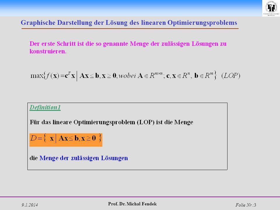9.1.2014 Prof. Dr. Michal Fendek Folie Nr.:3 Graphische Darstellung der Lösung des linearen Optimierungsproblems