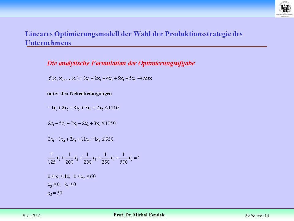 9.1.2014 Prof. Dr. Michal Fendek Folie Nr.:14 Lineares Optimierungsmodell der Wahl der Produktionsstrategie des Unternehmens