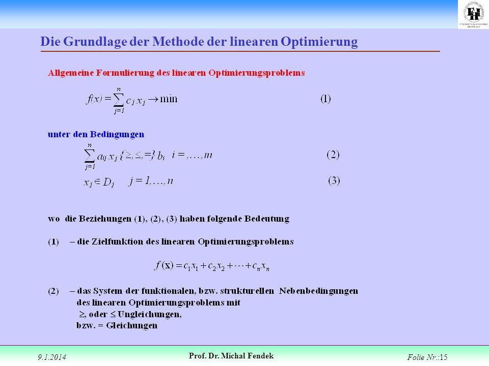9.1.2014 Prof. Dr. Michal Fendek Folie Nr.:15 Die Grundlage der Methode der linearen Optimierung