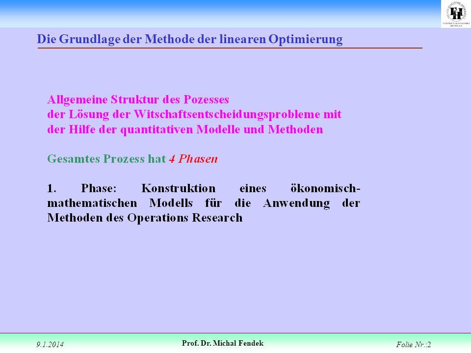 9.1.2014 Prof. Dr. Michal Fendek Folie Nr.:2 Die Grundlage der Methode der linearen Optimierung