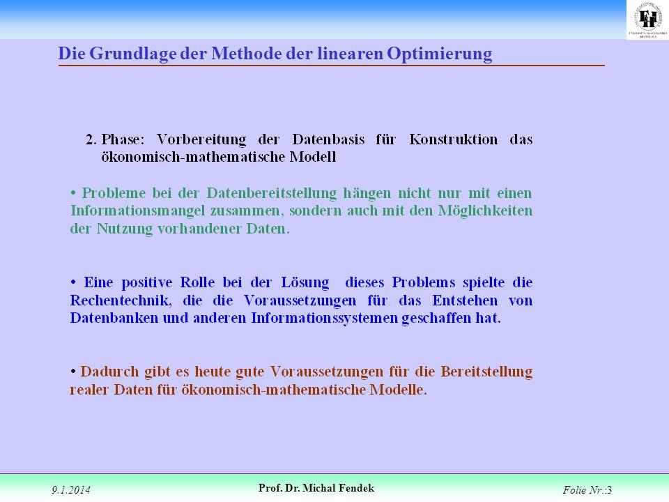 9.1.2014 Prof. Dr. Michal Fendek Folie Nr.:3 Die Grundlage der Methode der linearen Optimierung