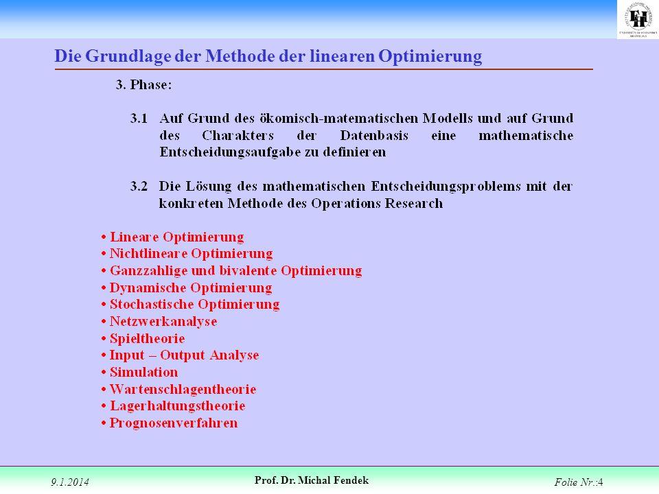 9.1.2014 Prof. Dr. Michal Fendek Folie Nr.:4 Die Grundlage der Methode der linearen Optimierung