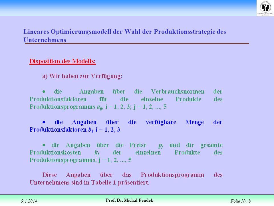 9.1.2014 Prof. Dr. Michal Fendek Folie Nr.:8 Lineares Optimierungsmodell der Wahl der Produktionsstrategie des Unternehmens