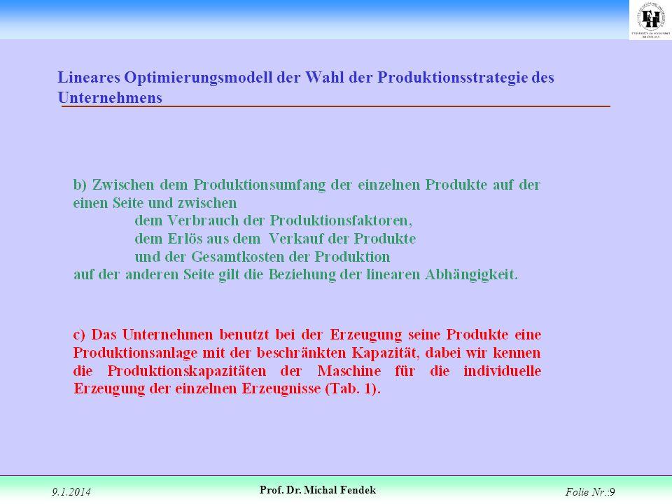 9.1.2014 Prof. Dr. Michal Fendek Folie Nr.:9 Lineares Optimierungsmodell der Wahl der Produktionsstrategie des Unternehmens