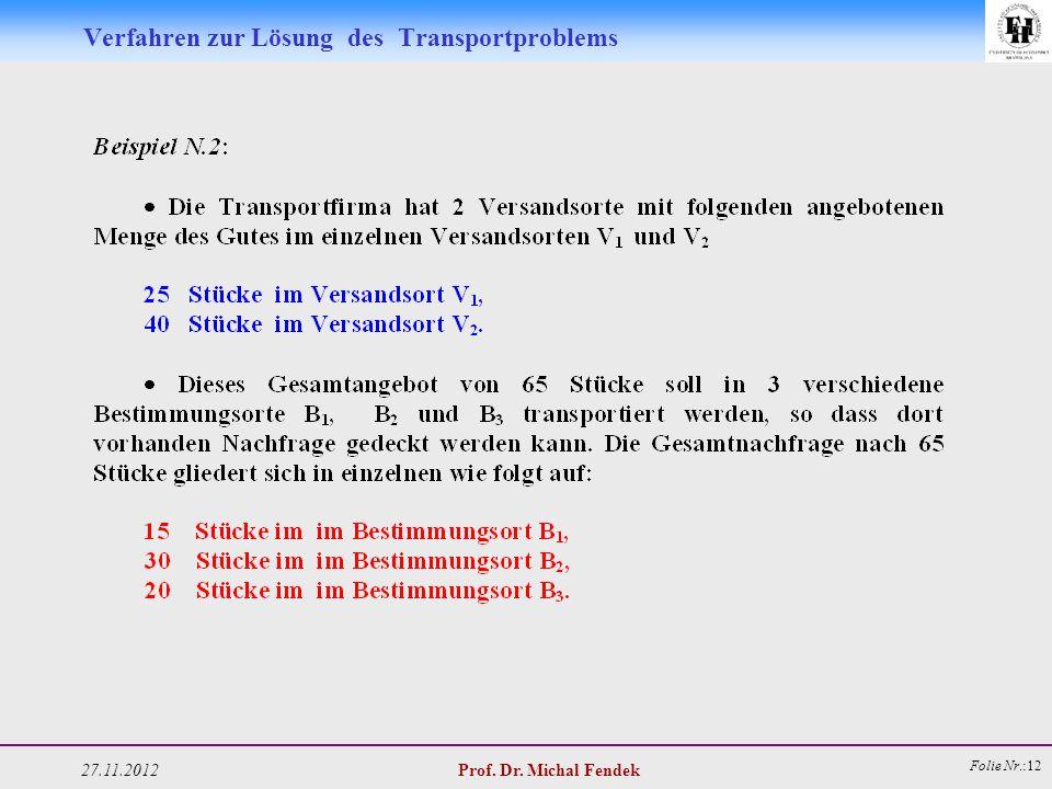 27.11.2012 Prof. Dr. Michal Fendek Folie Nr.:12 Verfahren zur Lösung des Transportproblems