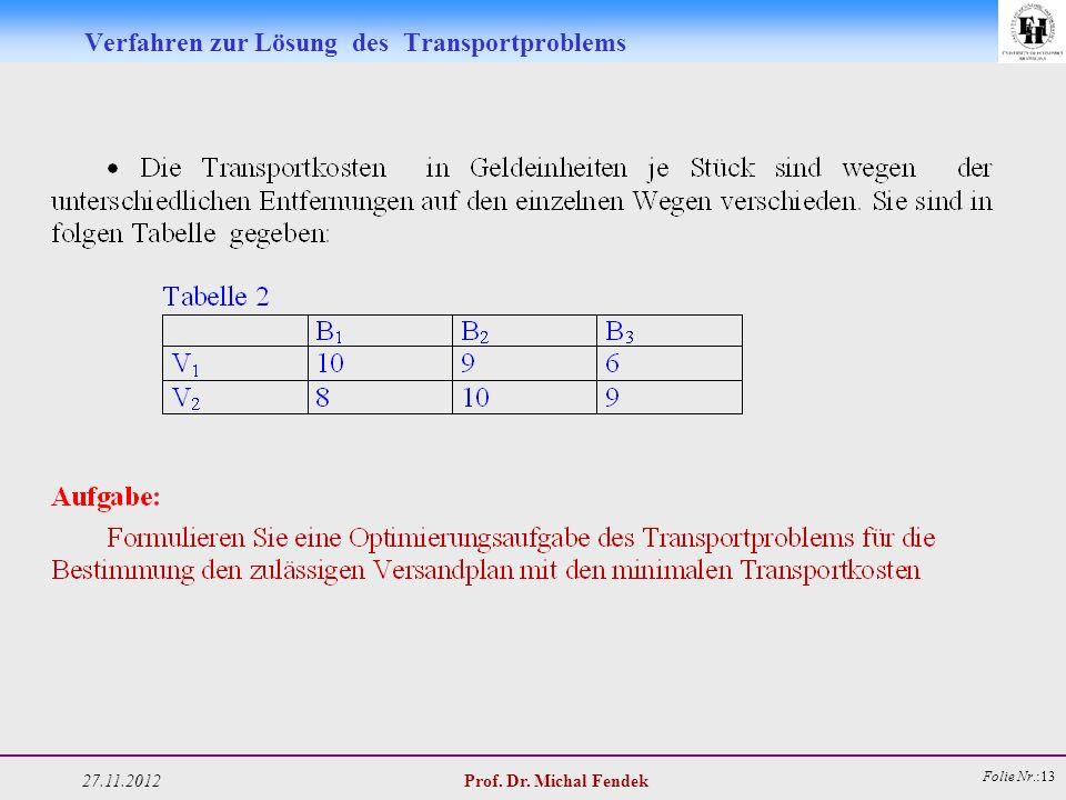 27.11.2012 Prof. Dr. Michal Fendek Folie Nr.:13 Verfahren zur Lösung des Transportproblems