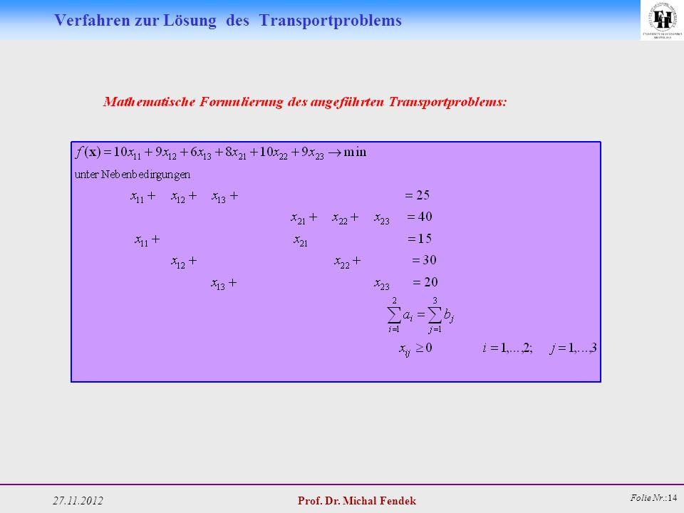 27.11.2012 Prof. Dr. Michal Fendek Folie Nr.:14 Verfahren zur Lösung des Transportproblems