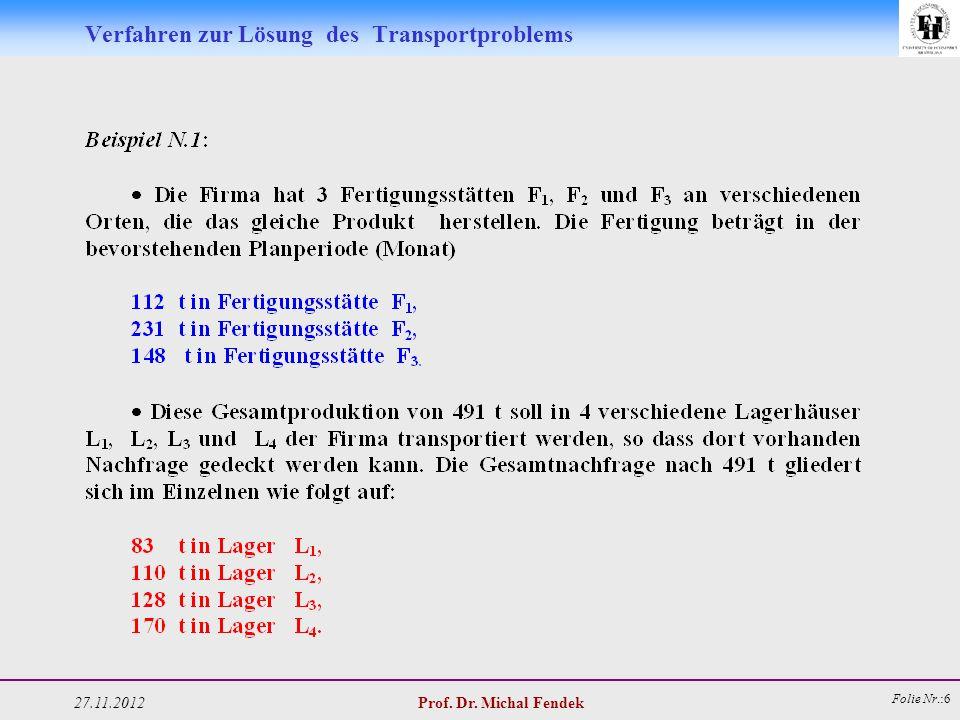 27.11.2012 Prof. Dr. Michal Fendek Folie Nr.:6 Verfahren zur Lösung des Transportproblems