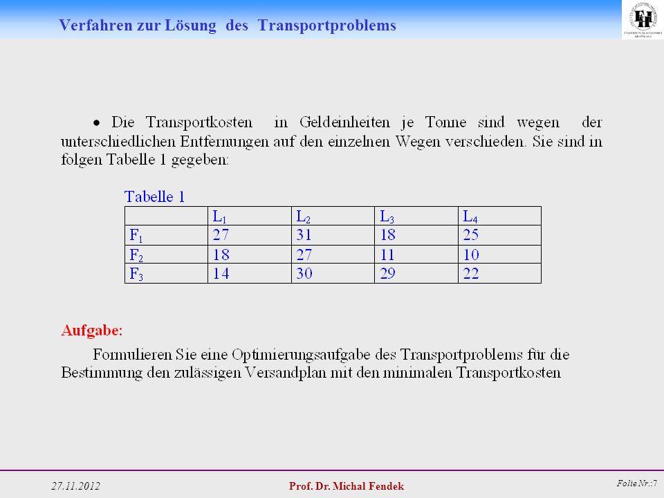 27.11.2012 Prof. Dr. Michal Fendek Folie Nr.:7 Verfahren zur Lösung des Transportproblems