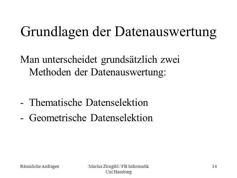 Räumliche AnfragenMarius Zirngibl / FB Informatik Uni Hamburg 14 Grundlagen der Datenauswertung Man unterscheidet grundsätzlich zwei Methoden der Date