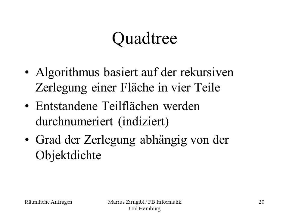 Räumliche AnfragenMarius Zirngibl / FB Informatik Uni Hamburg 20 Quadtree Algorithmus basiert auf der rekursiven Zerlegung einer Fläche in vier Teile
